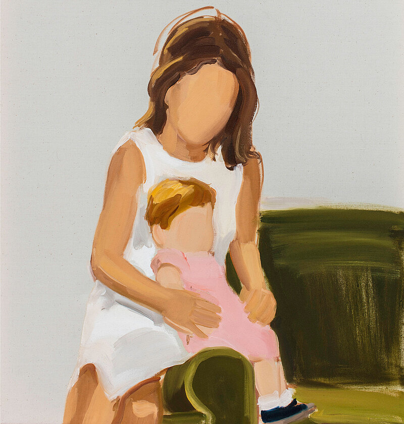 Gideon Rubin, Mother and Child, 2019, Öl auf Leinwand (Detail)