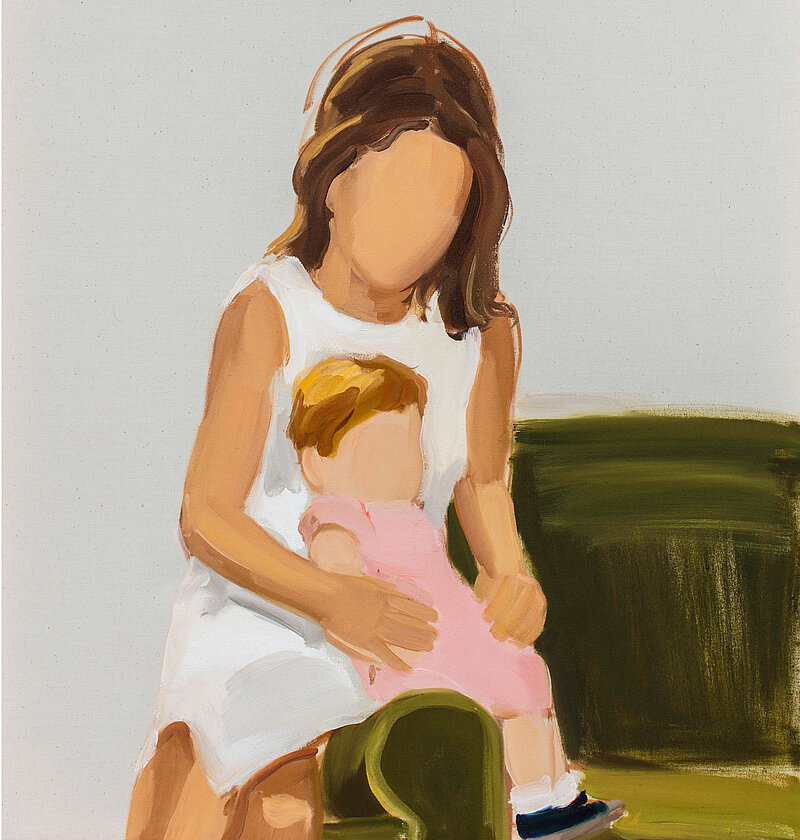 Gideon Rubin, Mother and Child, 2019, huile sur toile (détail)